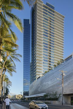 Waiea tower and building parking structure facade in Honolulu, Hawaii.