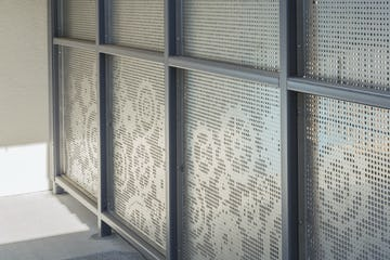Detail of perforated stainless steel at Washington Elementary.
