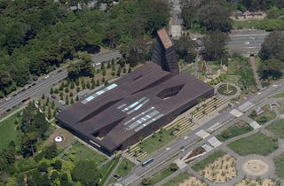 Aerial view of the de Young Museum in San Francisco, California