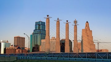 Panoramic of the Bartle Hall Sky Stations in the Kansas City Skyline.