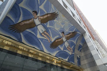 View upward of the mural and Muntz Metal architectural features