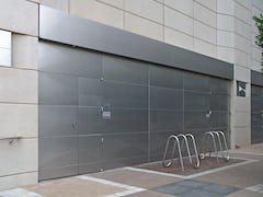 Detail of the metalwork also provided on the doors for the NASCAR Hall of Fame.
