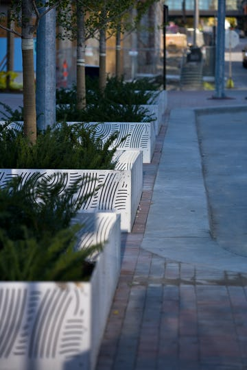 Detail of the Young+Dring planter boxes for the Power & Light District