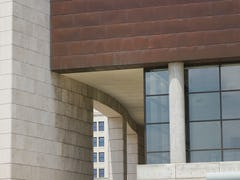 Copper panels will continue to weather at Freedom Center.