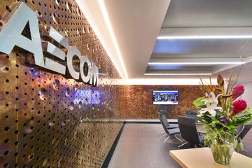 Detail of the AECOM Reception area interior metal panels
