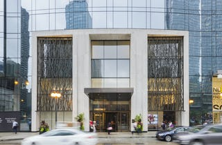 Entrance to the OneEleven residential tower in Chicago, Illinois.