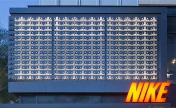 Detail of the metal panel system used for Nike Scottsdale.
