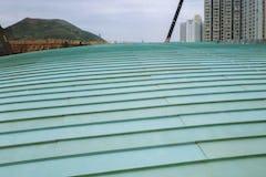 Tsing Yi Station Terminal Roof, running bond pattern on double-lock standing seam roof.