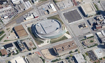 Aerial photo of BOK Center in Oklahoma.