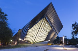 Folded stainless steel forms of Broad Museum featured in ArchRecord