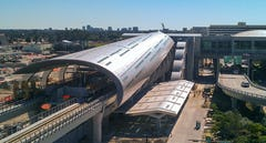 Custom glass and stainless steel roof and structure for Miami Intermodal Center.