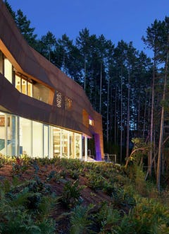 Detail of the facade design, Gulf Islands Residence designed by Tony Robins of AA Robins architects.