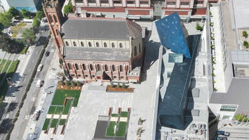 Aerial view of the blue metal panels on the Contemporary Jewish Museum in San Francisco.