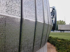 Detail of the perforated metal system used for Cerner Headquarters.