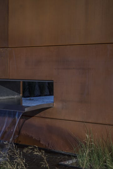 Weathering steel water feature backdrop for the Gulch Crossing entrance.