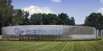 Cerner signage wall at the Cerner World Headquarters.