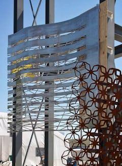 Zahner mockup tower shows Denny's prototype adjacent to the Basra Stadium mockup.