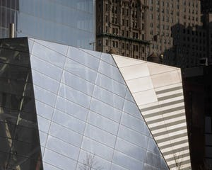 Detail of the National September 11 Memorial Museum Pavilion in NYC.