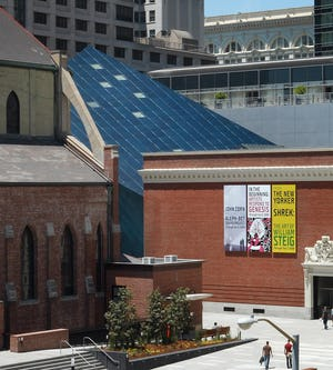 The metal panels of the Contemporary Jewish Museum at mid-day.