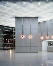 Custom acoustic panel, cast aluminum ceiling.