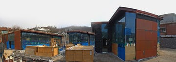 Panoramic of the Daeyang Gallery and House during construction.