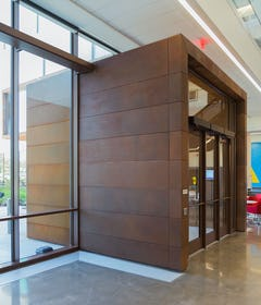 Custom weathering steel entryway at KU.