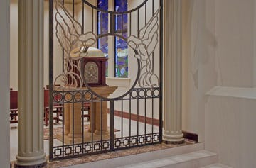 Ornate gate design by Zahner for The Cathedral of the Immaculate Conception.