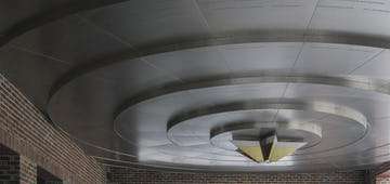 Detail of the metal ceiling system made for the Starlight Theatre Donor's Circle