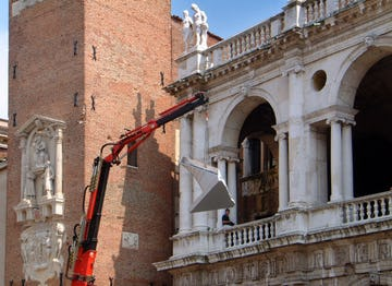 A section of the ZEPPS is lifted into the Basilica Palladiana in Vicenza, Italy.