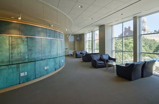 SMU Collins Center study room with custom copper patina on interior metal.