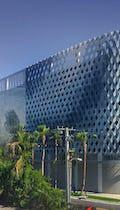 Miami Design District City View Garage, featuring Baldessari's artwork between the Leong Leong Facade and the IwamotoScott facade.