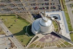 Aerial photograph of the Independence Temple designed by Gyo Obata of HOK.