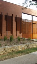 Exterior view of the perforated metal gateway entry for Kansas City Art Institute.