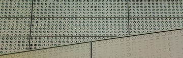 Detail of the louver-perforated facade for Cornell Tech's Bloomberg Center.