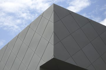 Corner detail of the zinc facade on the Dodge Painting Building at KCAI
