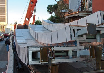 The Treasure Island panels arrive at the job site in Las Vegas.