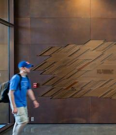 Weathering steel artwall at the entryway at KU.