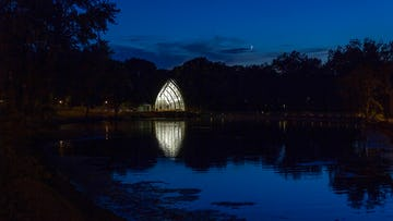 Photograph of White Chapel at dusk on the Rose-Hulman campus