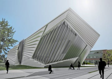 Aligned CAD and photo of the Broad during construction.