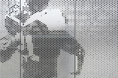 Detail of the Okie Blanchard Sports Complex perforated stainless steel.