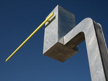 Detail of the kinetic sculpture Seven Sentinels, a public artwork by Matthew Dehaemers.