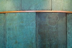 Detail of the artistic pre-patinated copper at SMU Collins.
