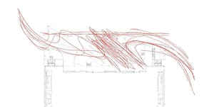 Drawing of the semi-truck pathways taken at Bartle Hall's loading dock.