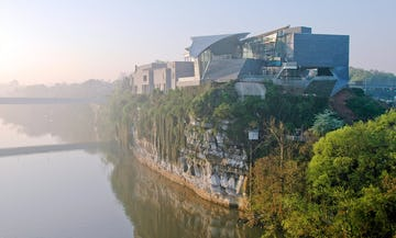 View of the Hunter Museum of American Art at sunrise.