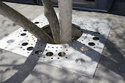 Custom tree gate planter for the tree surrounds at Gaines Residence