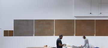 Patina technicians in the Zahner Dallas facility create the custom patina on zinc.