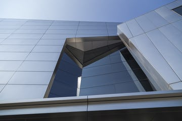 Upward view of the IBM Headquarters Entrance at Armonk, New York.