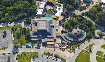 Aerial imagery of the kansas city zoo entrance pavilion