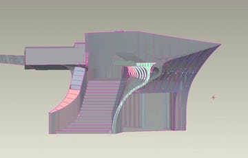 View of the Hunter Interior Staircase in CAD, with rendered skin surface.