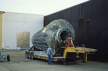 A prefabricated element of the roof spire is  secured for shipment.
